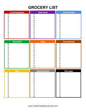 Grocery List Template Excel Free Download