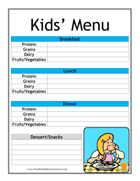 word grocery list template